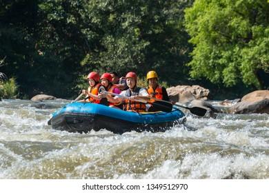 Rafting,Adventure travel, adventure, rafting the Mae Taeng, Chiang Mai, Thailand, December 11 2018.