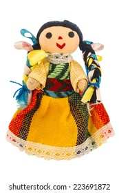 Rag doll with a typical dress of Mexico isolated on a white background.