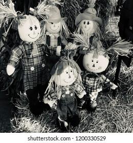 Rag dolls sitting on top of hay