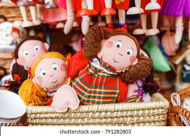 Rag dolls toys handmade souvenirs at the sale
