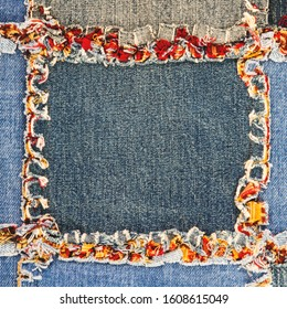 Rag quilt made from scraps of jean material; blue and red cozy jean quilt