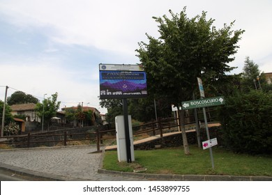 Ragalna - Italy / July 14, 2019. The LED message board of the municipal building of the town Ragalna, on the slopes of Mount Etna, indicating the Festival of the Arancino (a traditional snack).