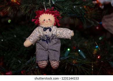 Raggedy Andy Christmas Ornament on a Christmas Tree