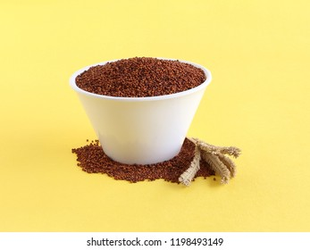 Ragi or finger millet, which is a healthy food and is said to prevent or help manage diabetes and a rich source of plant-based calcium, in a bowl and a stalk next to it.