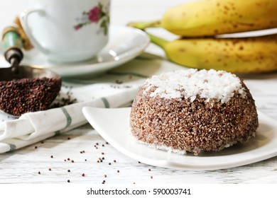 Ragi Puttu - Kerala Breakfast using finger millet and grated coconut, selective focus