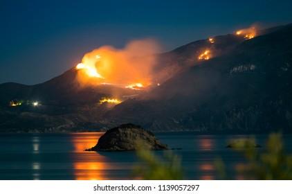 Raging Forest Fire at Night in Zakynthos, Greece
