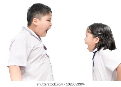 Raging kids - Brother and sister shouting to each other, isolated on white background
