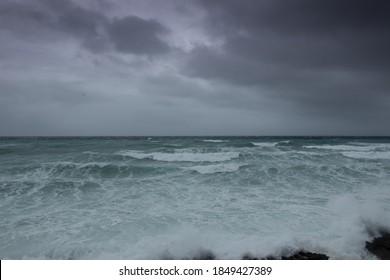 A raging ocean caused by tropical storm Eta as it blows through Grand Cayman