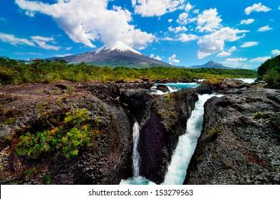 Raging volcano waterfalls