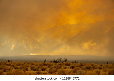 A raging wildfire rips through the Sierra Nevada mountains in California, turning the sky into a blaze of orange smoke
