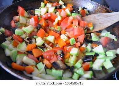 ragout of vegetables in a frying pan