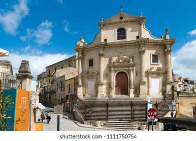 Ragusa Ibla, Sicily, Italy - April 1, 2018: The Chiesa del Purgatorio (Church of the Purgatory) is a Roman Catholic church ldedicated to all saints and the souls in purgatory consecrated in 1658.