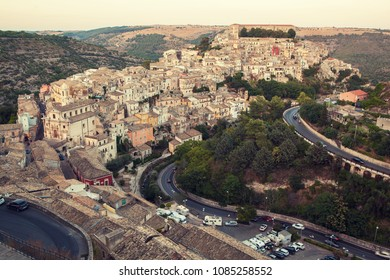 Ragusa, Italy - 08 08 2017: The view on Ragusa town.