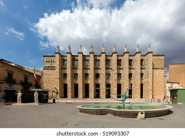 RAGUSA, ITALY - AUGUST 15 2016: Post Office in Ragusa Superiore, Sicily, Italy, built in 1930. Typical architecture from the times of Benito Mussolini.