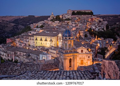 Ragusa, Italy - June 30 2017: The night view of skyline of a historic town Ragusa in Sicily.