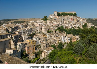 Ragusa, Italy - June 30 2017: The skyline of a historic town Ragusa in Sicily.