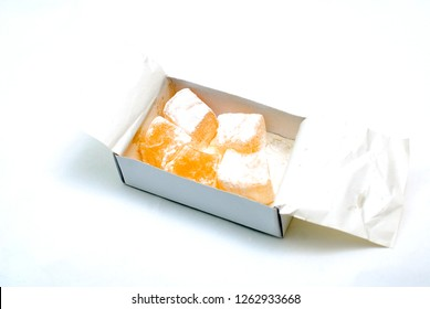 rahat lokum on white background, sweet food