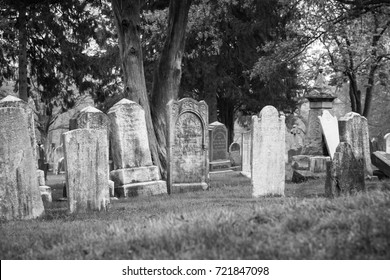 RAHWAY, NEW JERSEY - April 28, 2017: A view of old tombstones at Rahway Cemetery