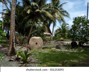 Rai stones, better known as stone money, on the island of Yap in Micronesia. Carved in Palau and transported to Yap to be used as currency.