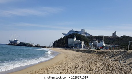 Rail bike runs along the Jeongdongjin beach. View from the top is the Sun Cruise Resort and Yacht in South Korea.