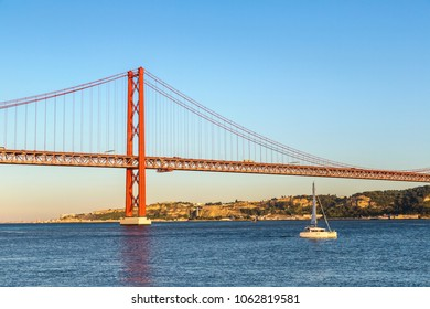 Rail bridge  over the Tagus river  in Lisbon, Portugal in a summer day