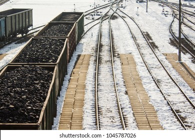 rail cars loaded with coal, a train transports coal