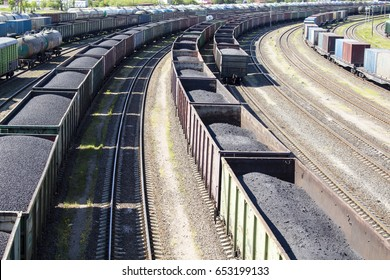 rail cars loaded with coal, a train transports coal.