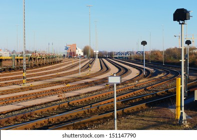 A rail curve at a freight depot.