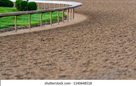 Rail At The Curve of Horse Track between races
