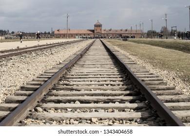 Rail entrance to concentration camp at Auschwitz Birkenau KZ Poland March 12, 2019 war