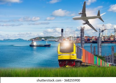 Rail freight, containers, against a backdrop of the Port and commercial aircraft, transport concepts.