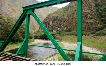 Rail road to Aguas Calientes/Peru. over Urubamba river