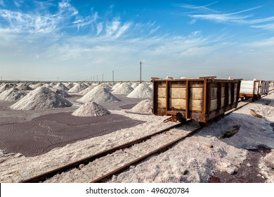 Rail road with railcart cart at salt mine at Sambhar Lake, Sambhar, Rajasthan, India