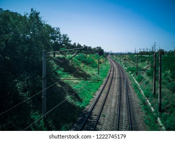 Rail Road Track (Railway) in Zaporozhye, Ukraine, 24 August 2018.