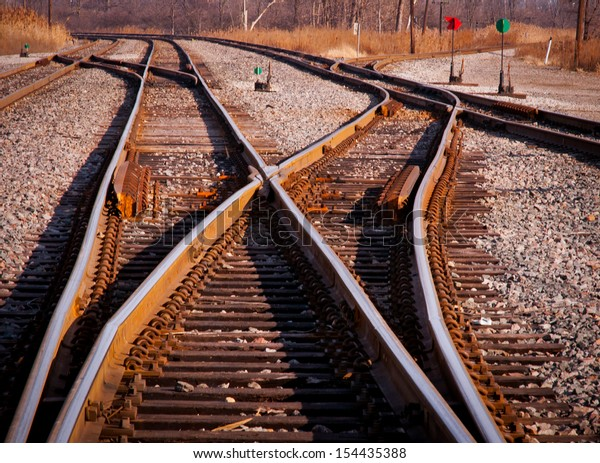 Rail switches in yard off mainline