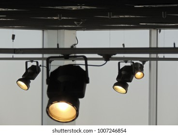 Stage lighting rig bilder stockfotos vektorgrafiken shutterstock rail system with follow spotlights for stage lighting mozeypictures Image collections