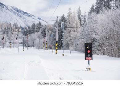 Rail train in winter