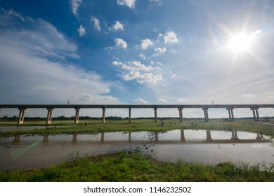 Rail transport Infrastructure system.Railway bridge across the lake of Pasak Jolasid dam,Thailand's famous tourist attractions
