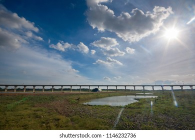 Rail transport Infrastructure system.Railway bridge across the lake of Pasak Jolasid dam,Thailand's famous tourist attractions