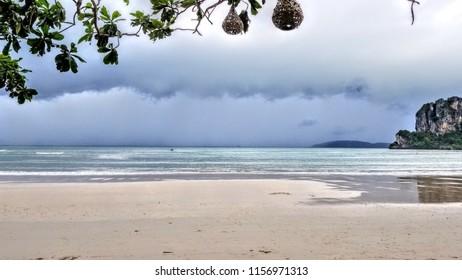 Railay Beach calm before the storm in Krabi Southern Thailand