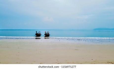 Railay Beach calm waves in Krabi Southern Thailand