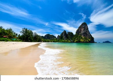 Railay beach in Covid-19 outbreak.There is no people .