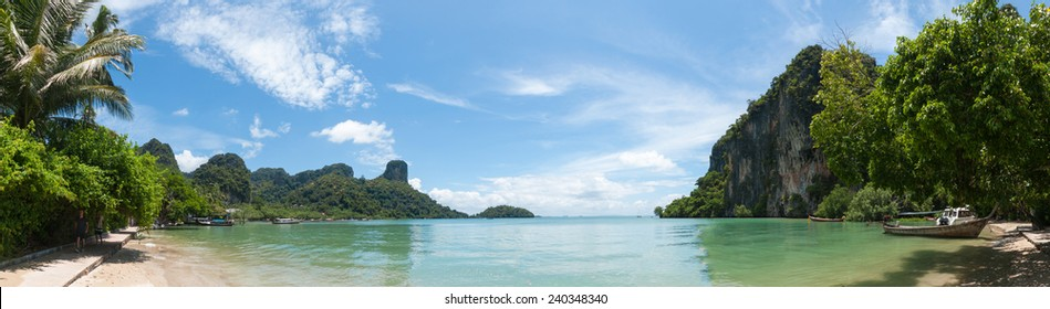 Railay beach in Krabi Thailand panoramic view