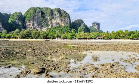 Railay Beach low tide in Krabi Southern Thailand