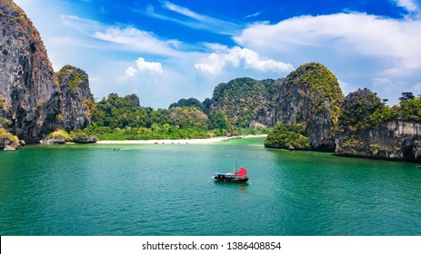 Railay beach in Thailand, Krabi province, aerial view of tropical Railay and Pranang beaches and coastline of Andaman sea from above