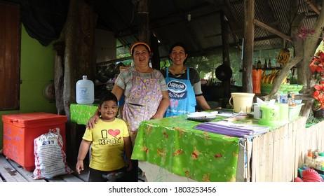 Railay / Thailand - February 2017: Local family at their Restaurant in Railay Beach, Thailand.