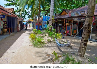 Railay, Thailand, October 24, 2014 - The Walking Street of the secluded village of Railay near Ao Nang.
