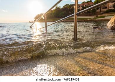 Railing at the mediterrean sea