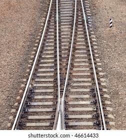 railing witn semaphore and railway switch