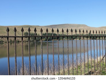 Railings beside lake